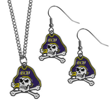 East Carolina Pirates Dangle Earrings and Chain Necklace Set CDEN102CN