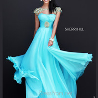 Cap Sleeved Cut Out Neckline Formal Prom Gown By Sherri Hill 11193