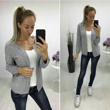 Grey Pearl Long Sleeve Casual Acrylic Cardigan Sweater