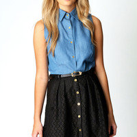 Denise Crochet Embroidered Skater Skirt