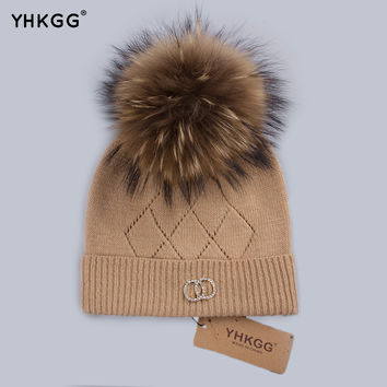 YHKGG Women Knitted Hat 2016 Winter Crystal Cap Real Fur Hat With Pompom Fur Hat Two Circles Decorate Black Hat Hot Sale H012-B