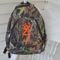 Girls Backpack  Back to School Woods Camo  Applique Deer Head and backpack in pink or orange Personalized