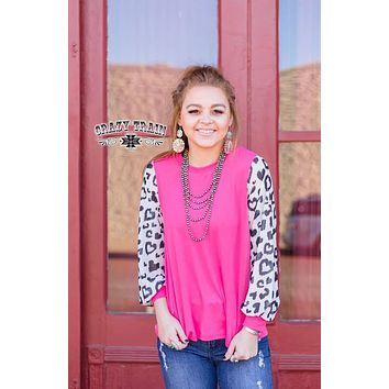 Fuchsia Pink Top with Heart Balloon Sleeves  (S-XL)