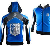 2014 New Free Shipping Attack on Titan Cosplay Cotton Hoodies Coat cool Sweatshirts Anime Game Products