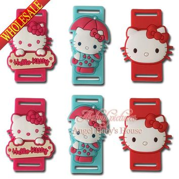 Free shipping New Novelty 3pair Lovely Cartoon Hello Kitty shoe lace accessorie pvc shoe buckle silicone laces Kids party favors