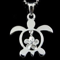 STERLING SILVER 925 HAWAIIAN HONU SEA TURTLE DANGLING PLUMERIA FLOWER CZ PENDANT