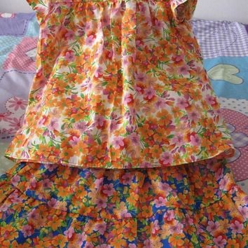 Twirly Skirt and top, Handmade outfit, Girl's clothing, Tiered skirt, White and blue with orange and pink flowers, Spring / Summer, Size 4.