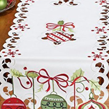 Red Green Colorful Ornaments Embroidered Table Runner