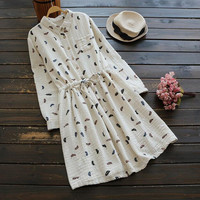 2017 spring forest Feather printing Drawstring waist dress mori girl
