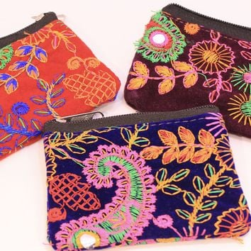 Paisley Embroidered Coin Purses