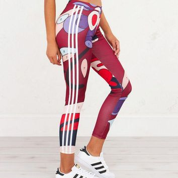 LMFOK3 Adidas Originals X Rita Ora Paint Print Three Stripe Leggings