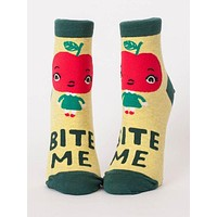 Bite Me Women's Ankle Socks in Yellow Appleface