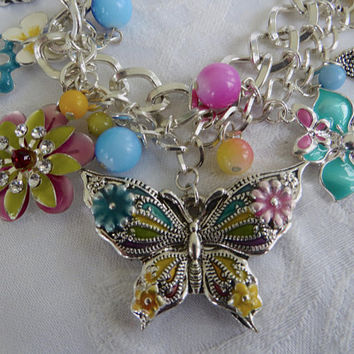 Vintage Butterfly Bib Necklace, Enamel Lucite, Butterflies Flowers Beads, Butterfly Jewelry, Mothers Day Gift