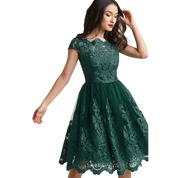 Dreamy Green Lace Embroidered Prom Dress