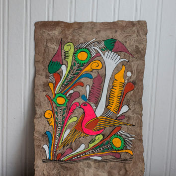 Mexican Bird Bark Vintage Painting - Bohemian Tribal Decor