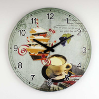Brand Mediterranean style kitchen wall decor watch with waterproof clock face dining room decoration silent wall clock gift