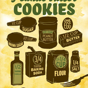 Illustrated Recipe Peanut Butter Cookies by DrunkGirlDesigns