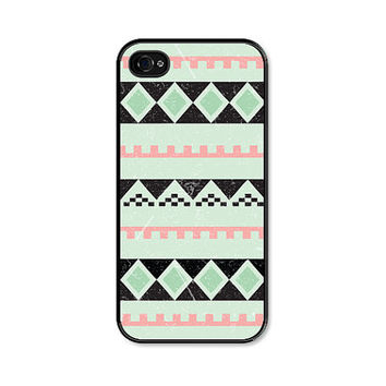 Geometric Apple iPhone 5 Case - Plastic iPhone 5 Cover - Tribal Southwest iPhone 5 Skin - Mint Green Black Pink Coral Peach Cell Phone