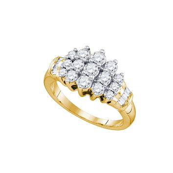 10kt Yellow Gold Womens Round Diamond Cocktail Cluster Ring 7/8 Cttw