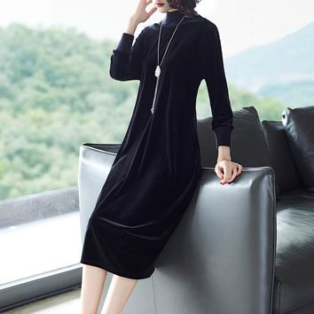 Long Sleeve Black Velvet  Casual Loose Midi Dress