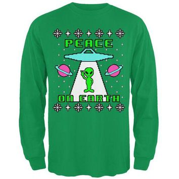 ONETOW Alien Peace on Earth Ugly Christmas Sweater Mens Long Sleeve T Shirt