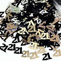 Black + Gold 21st Birthday Girl Confetti
