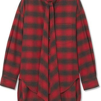 Balenciaga - Swing oversized printed checked cotton-flannel shirt