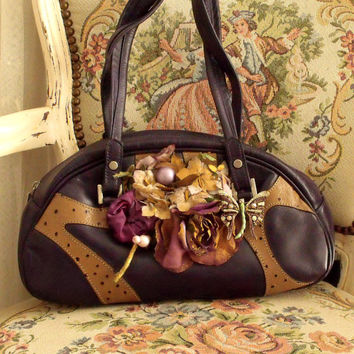 SALE Vintage Butterfly Purple bag camel leather rhinestones adorned handbag
