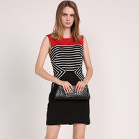 2016 fall clothing clearance sleeveless round collar stripe vest dress elastic knee-length skirt ladies clothes