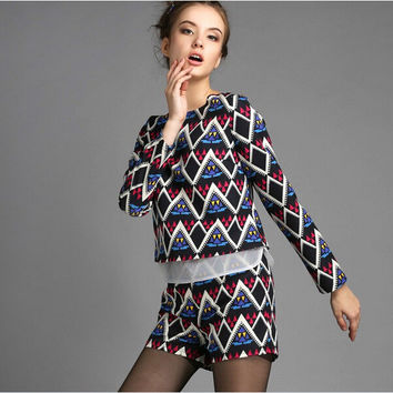 Black Mesh Geometric Print Long-Sleeve Shirt With Shorts