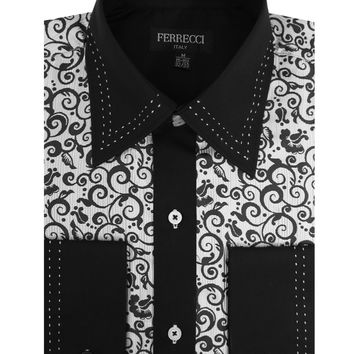 Ferrecci Men's Satine Hi-1021 Black & White Scroll Pattern Button Down Dress Shirt