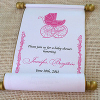 Princess Baby Shower Invitation Scroll, Pink and Gold, Vintage Carriage, Announcement, set of 10