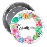 Groomsman Tropical Floral Name Button | 3""