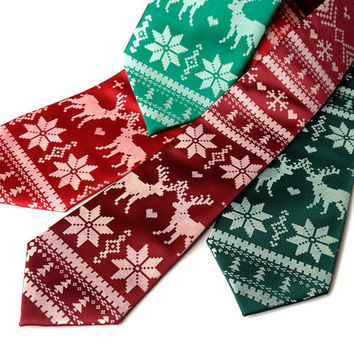Christmas Sweater Party necktie. Ugly sweater holiday party men's tie. Red or green tie & white print. Reindeer, poinsettia design.