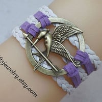 Burning Girl,mocking jay bracelet,hunger bird,games jewelry,charm,white,Leather Bracelet,Lavender,Friendship Gift