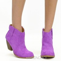 Magenta Cowgirl Western Ankle Booties Suede Pink Purple Fashion Pastel Boots