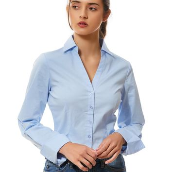 LE3NO Womens Long Sleeve Button Down V Neck Shirt with Stretch