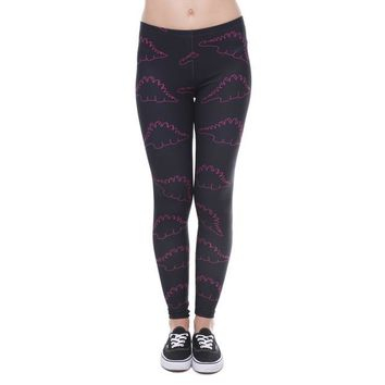 Cartoon Pink Dinosaur Printed Aztec Leggings