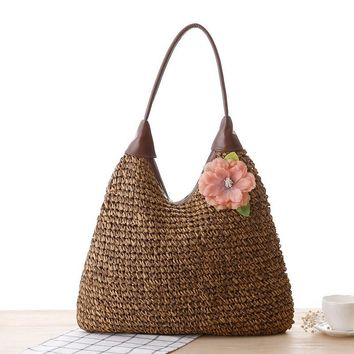 leather handle one shoulder spinning weaving straw summer beach  bag