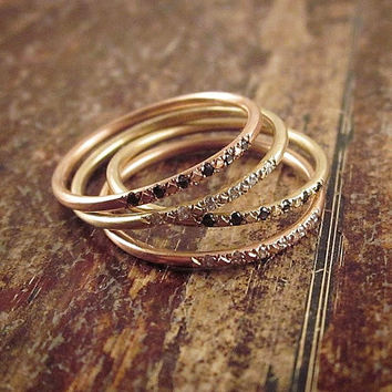 14K Rose Gold Ring Pave Diamond Ring Pink Gold Stacking Rings 14K Rose Gold Band Womens Ring Thin Band Rose Gold Wedding Band Pink Gold Ring