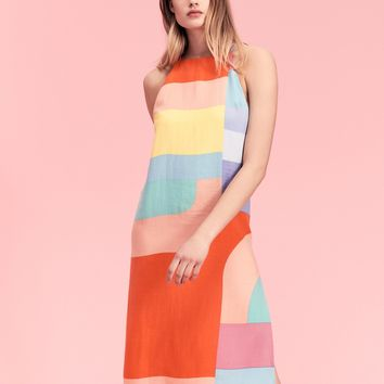 Free People Colorblock Slip Dress