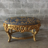 "Baroque Bench Italian Rococo Bed Bench Heavy Floral Carving Damask Fabric Gold Blue Gold Leaf Gild Louis XVI 41""W x 24""H x 26""D"