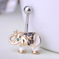Gold Body Jewelry Elephant Navel Piercings Belly Button Ring
