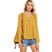 Plain V-Neck Pleated Dip Hem High Low Blouse