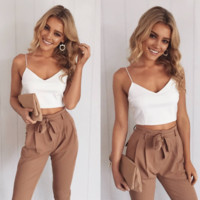 White suspenders sexy V-neck tunic with belt two-piece women's trousers