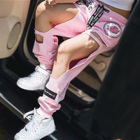 Womens Sweatpants 2015 Street Style Cut Out Harajuku Destroyed Joggers for Woman Ladies Wide Leg Distressed Sports Jogger Pants