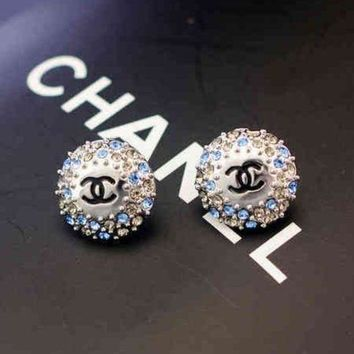 PEAPYV2 Chanel Women Fashion CC Logo Diamonds Stud Earring Jewelry