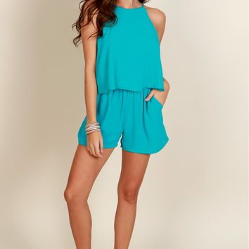 Treat You Right Ruffle Romper Turquoise