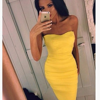 Yellow Strapless Bodycon Midi Dress