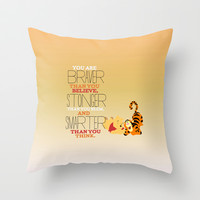stronger, braver, smarter, winnie the pooh Throw Pillow by Studiomarshallarts